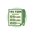 Tax form green icon vector image