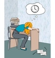 Tired student vector image
