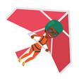 woman flying on hang-glider vector image