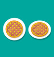 bacon apple pie on white plate top view vector image