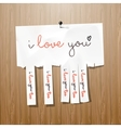 I love you handwritten on advertisement leaflet vector image vector image