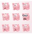 Piggy bank emotions vector image