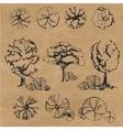 Hand drawn trees set vector image