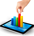 tablet with colorful graph and hand vector image