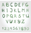 Alphabet in green colors Watercolor paint vector image