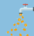 Coins fall out of the water tap vector image
