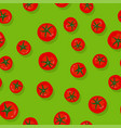 green seamless pattern with tomatoes vector image