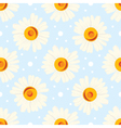 Seamless chamomile pattern on blue background vector image