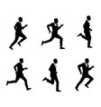 silhouettes of men running vector image
