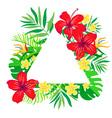 Tropical flowers frame triangular shape vector image