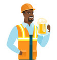Young african-american builder drinking beer vector image