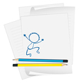 A paper with a sketch of a young boy dancing vector image vector image