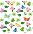 tropical flowers and butterflies seamless pattern vector image