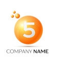 number five splash logo orange dots and bubbles vector image