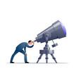 cartoon astronomer looking through a vector image