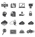 big data icons set computer security vector image