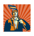 Street Cleaner Holding Broom Front Retro vector image