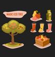magic eco tree gardening farm fresh retro style vector image