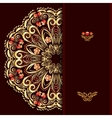 Rich burgundy background with a round gold floral vector image