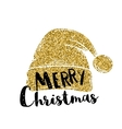 Hat of Santa Claus Gold glitter design vector image