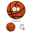 Cartoon basketball ball character with happy vector image vector image