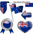 Glossy icons with New Zealander flag vector image