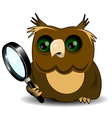 Owl with a magnifying glass vector image