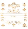 Set of golden patterns and vignette vector image