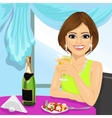 attractive woman dining at restaurant vector image