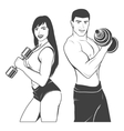 Beautiful fitness young sporty couple with vector image