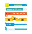 entrance bracelets for public concerts or hotel vector image