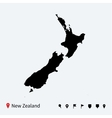 High detailed map of New Zealand with navigation vector image
