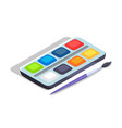 watercolor paints colorful palette box with brush vector image
