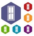 Glass door icons set vector image vector image