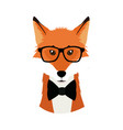 hipster fox wear bow and glasses fashionable icon vector image