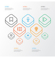 music outline icons set collection of headphone vector image