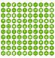 100 headphones icons hexagon green vector image