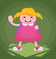 a cheerful first grader in a pink dress with a vector image