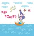 Bon voyage cartoon vector image