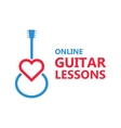 Heart guitar logo or icon vector image