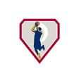Basketball Player Jump Shot Ball Shield Retro vector image vector image