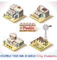 Pueblo Tiles 03 Set Isometric vector image