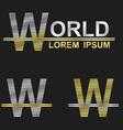 Metallic business font design - letter W vector image