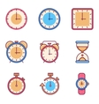 Alarm clock timer watch flat icons vector image