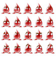 set of emoticons red drops of blood vector image vector image