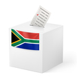 Ballot box with voting paper South Africa vector image