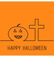Contour pumpkin and cross Happy Halloween vector image
