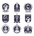 monochrome labels for astronauts badges vector image