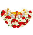 Romantic Flower Decoration with Gifts vector image
