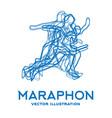 running people marathon concept vector image